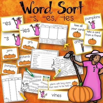 Word Sort s, es, ies Pumpkin Fiesta