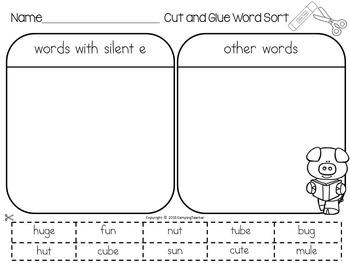 Word Sort silent e (with long u) Story Poppleton Everyday
