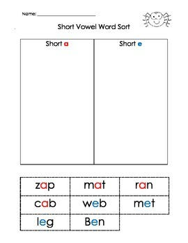 Word Sort with Short Vowels (CVC). Cut and Paste Activity