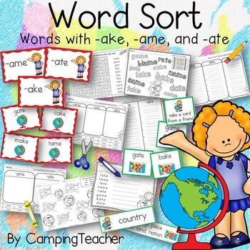 Word Sort with ake, ame, and ate Story Me on the Map