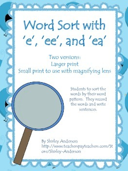 Word Sort with 'e', 'ee', and 'ea' (Macmillan Treasures - Unit 4)