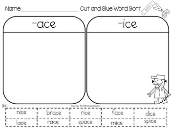 Word Sort with ice and ace Story My Robot