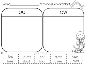 Word Sort with ou and ow Story On the Job with Dr. Martha Smith