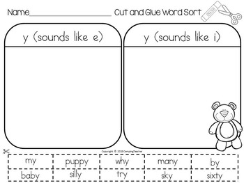 Word Sort with words that end in y Story Little Bear's Friend