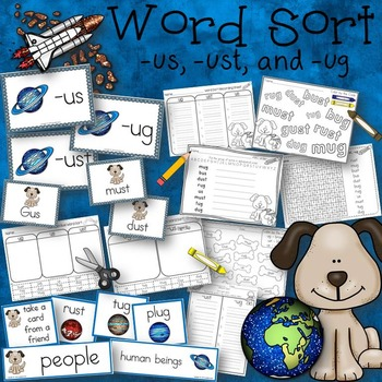 Word Sort - words with ug, us, and ust - Story Space Pup