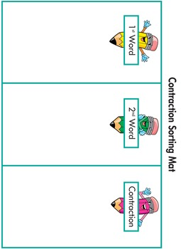 Word Sorting Cards and Mats: Contractions