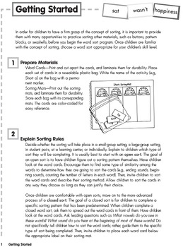 Word Sorting Cards and Mats: Long a