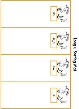 Word Sorting Cards and Mats: Long u