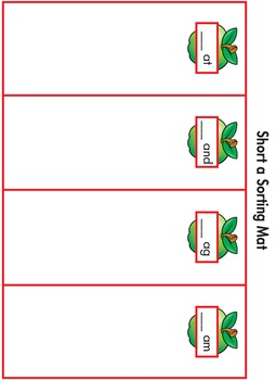 Word Sorting Cards and Mats – Short a