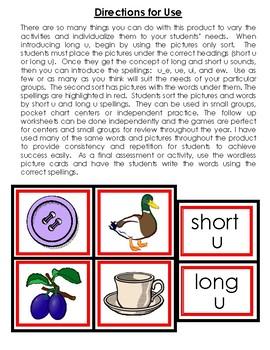 Long Vowel U Activities and Printables