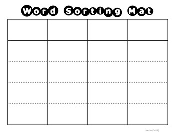 word sorting mat card template by msjordanreads tpt. Black Bedroom Furniture Sets. Home Design Ideas