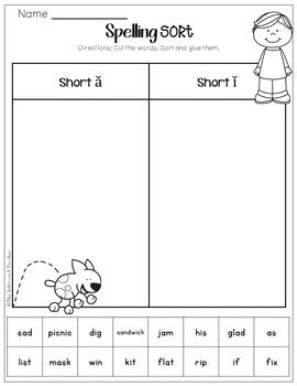 Word Sorting! Short A & Short I Sound