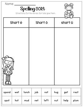 Word Sorting! Short E, O & U Sound
