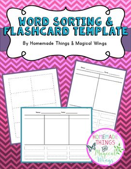 Word Sorting & Flashcard Template {primary} - Free