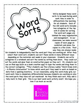 Word Sorts - A Phonics Intervention