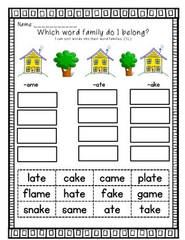 Word Sorts First Grade Treasures Unit 3
