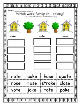 Word Sorts-First Grade Treasures Unit 4