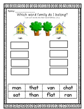 Word Sorts For First Grade Treasures Unit 1