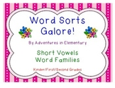 Word Sorts Galore: Short Vowels CVC Word Families