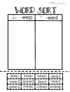 Long Vowel e Picture and Word Sorting Activities