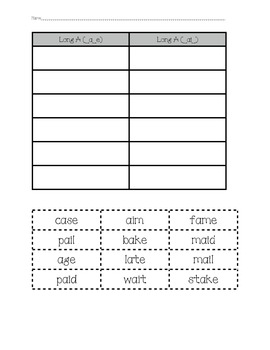 Word Sorts - Long A & Short A
