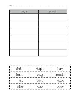 Word Sorts - Long A & Short A