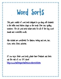 Word Sorts-Long & Short Vowels