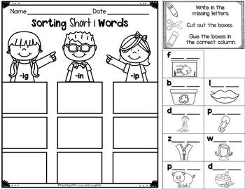 Word Sorts {Short Vowels Cut and Paste Edition}