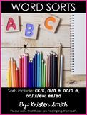 Word Sorts- Sorts include: ck/k, ai/a_e, oa/o_e,  oo/ui/ew, ee/ea