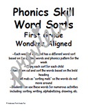 Word Sorts Units 1-6 First Grade Wonders Aligned