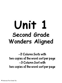 Word Sorts Units 1-6 Second Grade Wonders Aligned