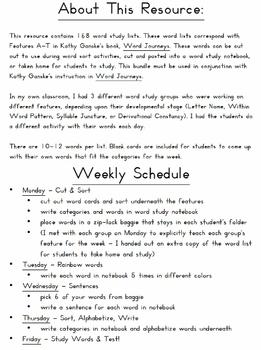 Word Sorts - Supplement to Word Journeys Spelling Program