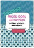 Word Sorts (Word Journeys / Words Your Way) Word Work Worksheet Pack