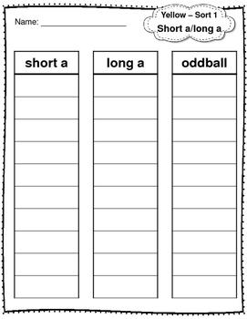Word Sorts Yellow 1-50