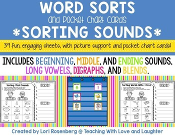 Word Sorts and Pocket Chart Cards {Sorting Sounds Edition}