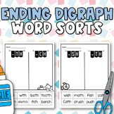 Ending (sh, th, ch) Digraph Word Sorts