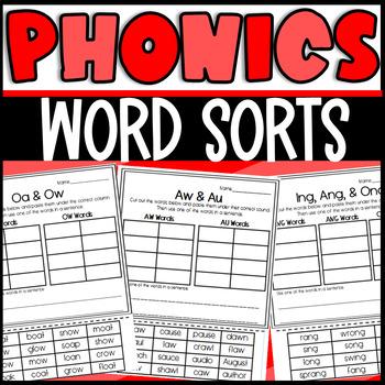 Word Sort Bundle for Phonics Skills! Cut and paste