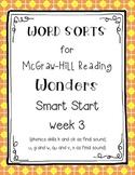 Word Sorts for Reading Wonders Smart Start week 3