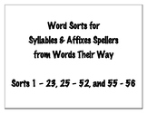 Word Sorts for Syllables and Affixes Spellers [Words Their Way]