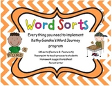 Word Sorts for Word Journeys with powerpoint and letters Features B-N