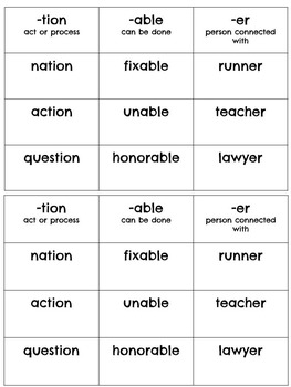 Word Sorts (within word patterns, syllables and affixes)
