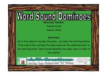 Word Sound Dominoes - Workstation Game and IREAD Practice