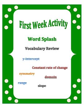 First Week of School: Word Splash Vocabulary Activity