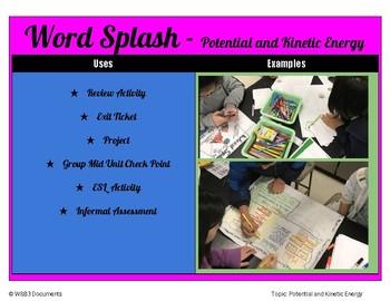Word Splash - Potential and Kinetic Energy