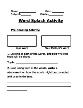 Word Splash Reading/Vocabulary Activity