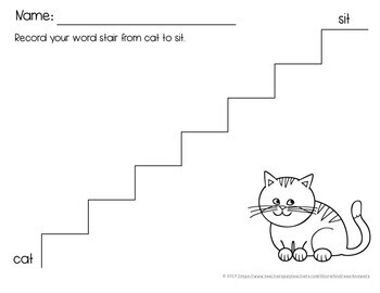 Word Stair Activity Packet to Review Short Vowels, Blends, and Digraphs