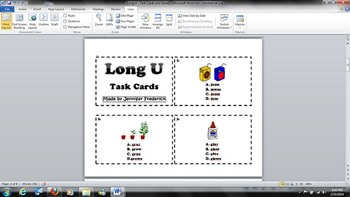 Word Stew - Board Game and Task Cards - Phonics - Long U -