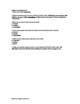 Word Storm Vocabulary Worksheets and Answer Key