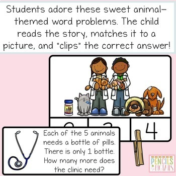 Word / Story Problem Clip Cards & Matching - Addition and Subtraction Skills
