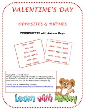 Valentine's Day Word Studies - Rhymes and Opposites